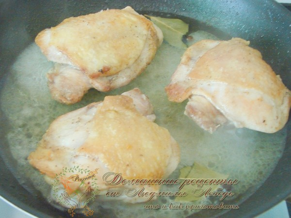 Бедра куриные с грибами на сковороде рецепт