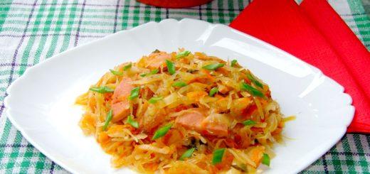Рецепт тушеной капусты. Тушеная капуста с сосиской